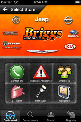 Briggs Auto Mobile App offers shopping and convenience features for iPhone and Android users.  (PRNewsFoto/Briggs Auto)