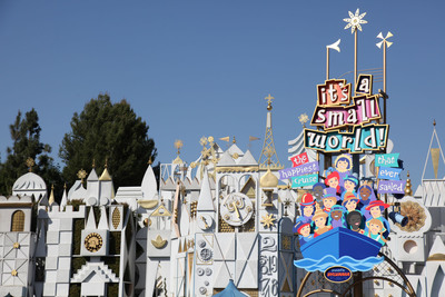 "Disney Parks is celebrating the 50th anniversary of its iconic ""it's a small world"" attraction with a global celebration that benefits UNICEF. Capturing the happy, peaceful spirit of children everywhere, the attraction, which debuted at the 1964 World's Fair, now entertains guests at five Disney theme parks worldwide. Fans around the world are invited to join the celebration at SmallWorld50.com where they may record videos of themselves singing ""it's a small world"" and create virtual dolls in the style of those from the attraction.   (PRNewsFoto/Disney Parks)"