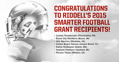 Riddell announced the inaugural recipients of the Riddell Smarter Football Grant today. The company pledged a combined total of $100,000 in equipment grants to teams that are committed to smarter football. Hundreds of compelling entries showcased team's unique approach to football and seven of those programs stood out in demonstrating how a smarter game spans far beyond winning and losing.