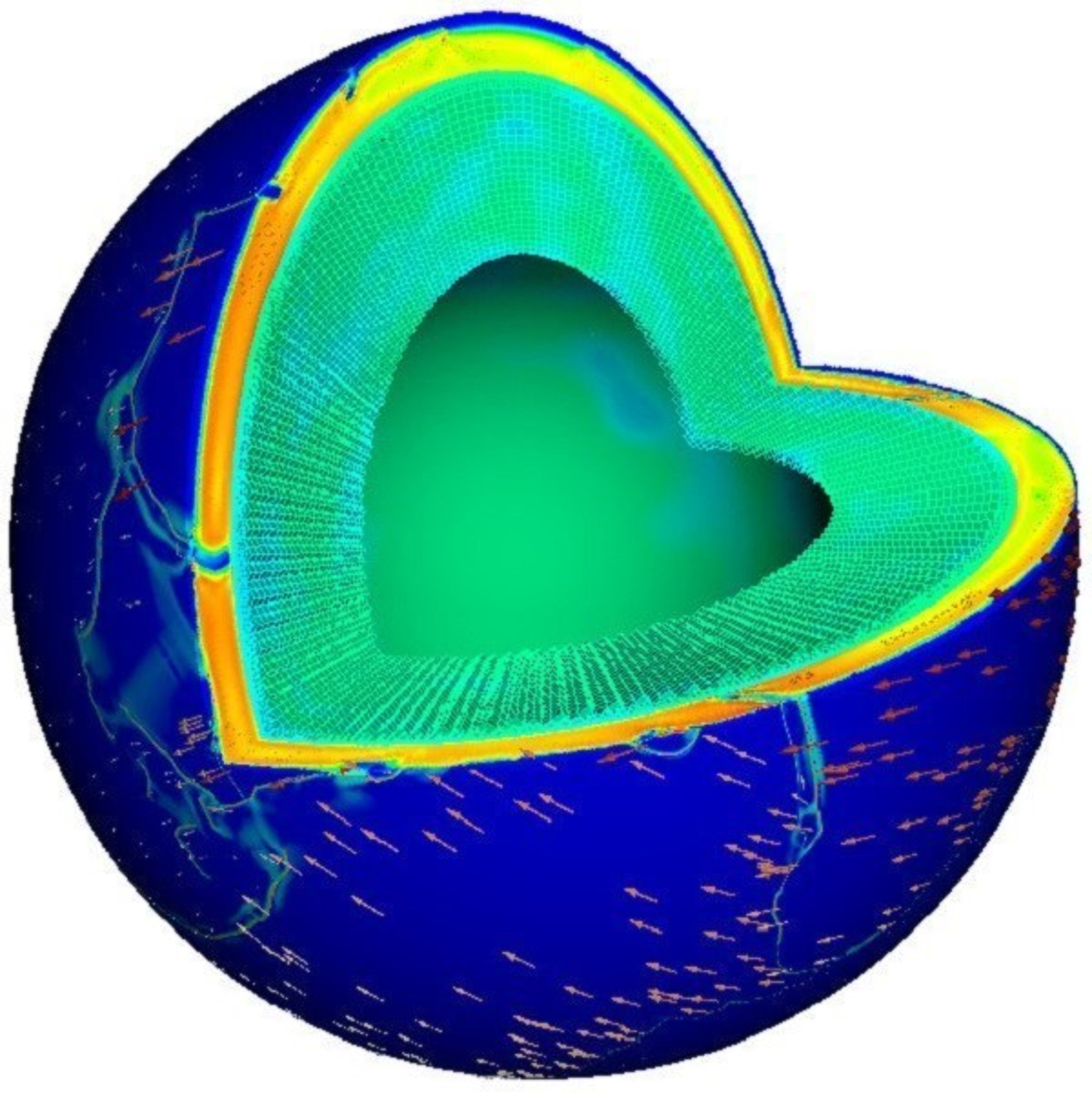 """Scientists at IBM Research, the University of Texas at Austin, New York University and the California Institute of Technology have been awarded the 2015 Gordon Bell Prize for realistically simulating the forces inside the Earth that drive plate tectonics. The work paves the way toward better understanding of earthquakes and volcanic activity. The accomplishment was made using 1.6 million cores on the 96 racks of """"Sequoia"""" - the IBM BlueGene/Q system located at the Lawrence Livermore National Laboratory, one of the world's fastest supercomputers. The illustration depicts the mantle viscosity and the arrows show the motion of the tectonic plates."""