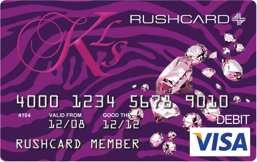 The new KLS RushCard designed by Kimora Lee Simmons offers members a chic, stylish design along with powerful features that help members save and budget.  (PRNewsFoto/UniRush LLC)