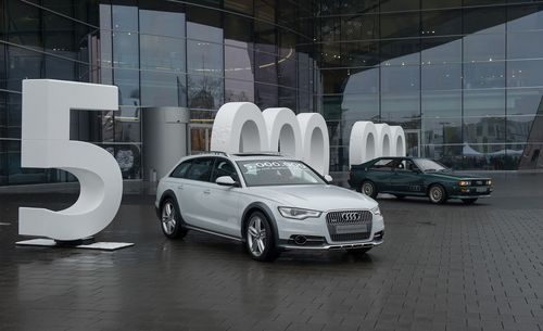 AUDI AG celebrates a very special event - the five millionth Audi with a quattro drive system. The car is a white Audi A6 allroad 3.0 TDI; it rolled off the assembly line at the Neckarsulm plant. The record is a testament to the leading role played by the pioneering all-wheel drive - no other premium brand in the world can claim such high sales figures for a four-wheel drive or a comparable range of models boasting more than 140 quattro variants. (PRNewsFoto/Audi AG)