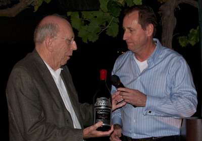 Jim Concannon presented 1st Tribute Bottle of 2009 Crimson & Clover, Conservancy, Livermore Valley.  (PRNewsFoto/Concannon Vineyard, Rick Camargo Photography)