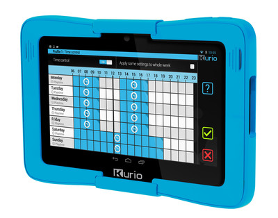 Kurio 7s Android 4.2 tablet for families with kids by Techno Source.  The Kurio Parental Area is password protected and has been enhanced with even more granular, easy to use parental controls.  Parents can now set detailed time limits individually for each day of the week.  (PRNewsFoto/Techno Source)