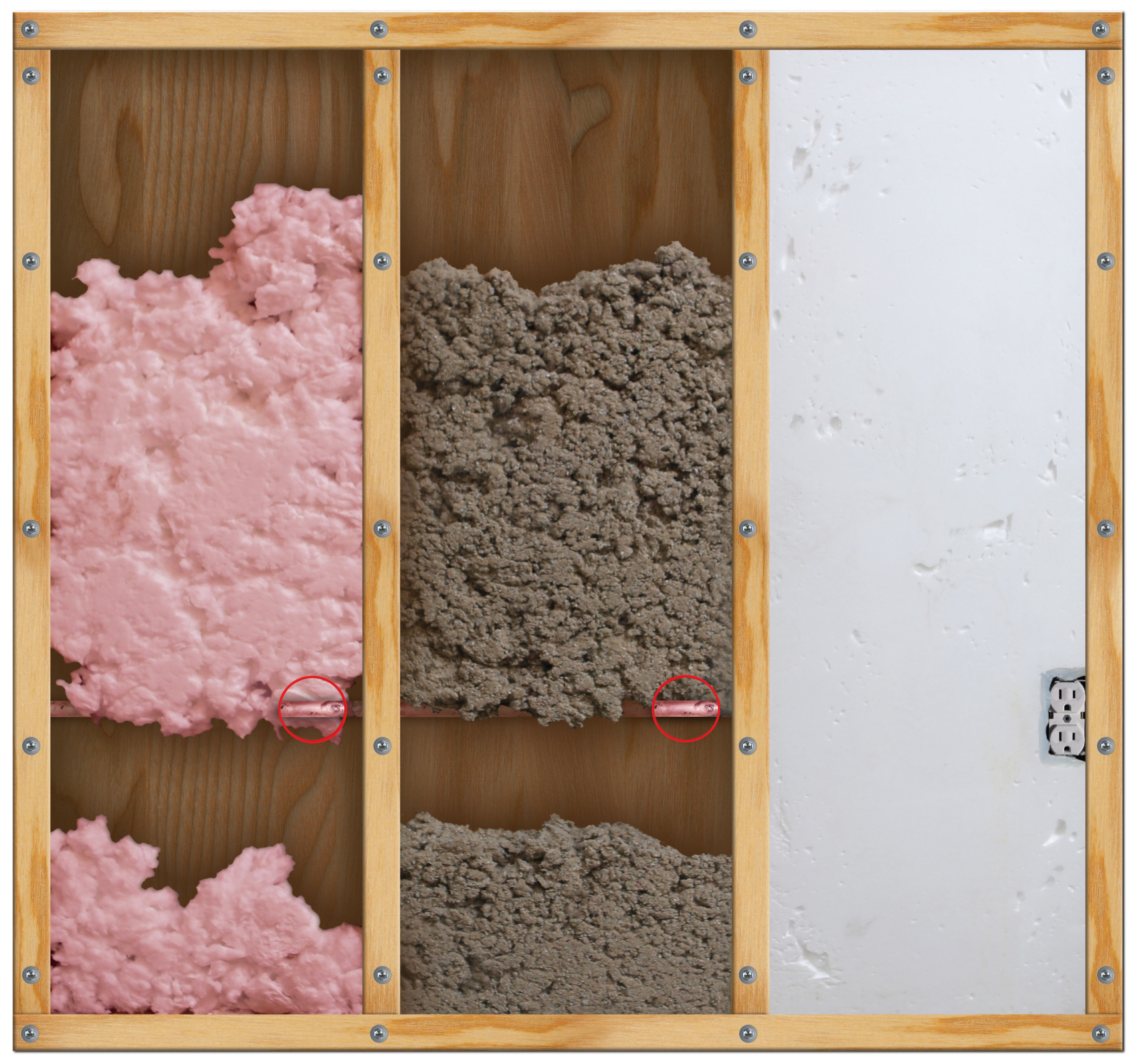 3 Panel comparison showing premium foam to other types of insulation materials.