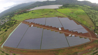 This 12 megawatt Koloa solar array owned by Kauai Island Utility Cooperative was built by SolarCity and went into operation in 2014. SolarCity plans to build a larger array at Kapaia with a unique battery energy storage system. Photos by Kauai Island Utility Cooperative