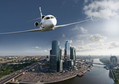 The 5,950 nm Falcon 7X to be exhibited at Jet Expo 2012 in Moscow.