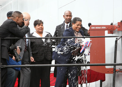 Mrs. Myrlie Evers christens the USNS Medgar Evers (T-AKE 13) at the General Dynamics NASSCO shipyard on November 12, 2011.  (PRNewsFoto/General Dynamics NASSCO/Melissa Jacobs)