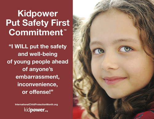 Decide to put safety ahead of discomfort for young people, yourself, and everyone important to you! As they get older, encourage young people to make the Kidpower Put Safety First Commitment for themselves. (PRNewsFoto/Kidpower)