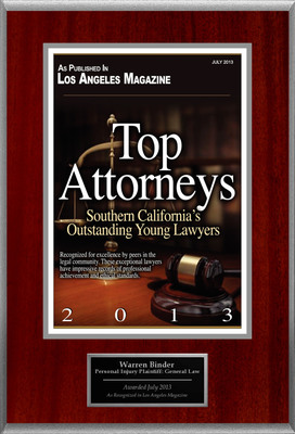 Attorney Warren Binder Selected for List of Top Rated Lawyers in California. (PRNewsFoto/American Registry)