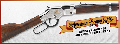 The Henry American Beauty Rifle is the newest addition to Henry Repeating Arms' line of award-winning Golden Boy .22 Lever Action Rifles. A unique way to capture a woman's unique beauty and feminine spirit. Made in USA. spirit. Made in USA.and feminine spirit. Made in USA.