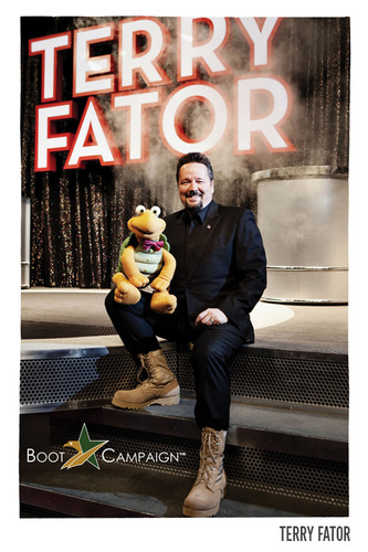Las Vegas star Terry Fator joins the 'Boot Campaign' by getting his BOOTS on for the troops. America, get YOUR boots on! www.BootCampaign.com.  (PRNewsFoto/The Boot Campaign)