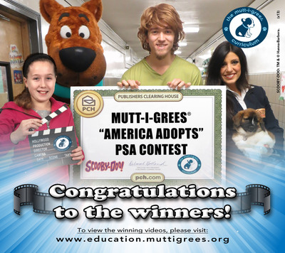 """Winners of the Mutt-i-grees(R) """"America Adopts"""" PSA Contest are in! The PSA Contest, a nationwide initiative to raise awareness of the availability and desirability of adoptable pets, known as Mutt-i-grees, reflects the essence of the Mutt-i-grees Curriculum; a unique approach that teaches children to make responsible choices. Students across the country submitted creative PSAs encouraging Americans to adopt from their local shelter or rescue group.  The top winners are The Arch Ford Early Educational Program from Conway, AR; Eagle Crest Early Elementary School from Longmont, CO and Brookhaven Technical Center from Bellport, NY.  View all the winning videos: www.education.muttigrees.org.  (PRNewsFoto/North Shore Animal League America)"""