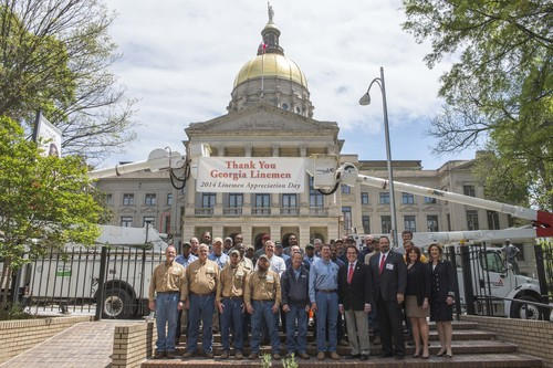 Linemen from across Georgia gathered Thursday at the Capitol to be recognized prior to the first-ever Georgia Lineman Appreciation Day on April 18. Georgia Power employs more than 1,100 line personnel across the state – the company's first responders when severe weather impacts service to customers.   (PRNewsFoto/Georgia Power)