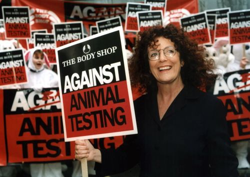 EU set to ban animal testing for cosmetics.  The Body Shop and Cruelty Free International celebrate after 20 years of campaigning. Founder of The Body Shop, Dame Anita Roddick (pictured), was the inspiration behind their Against Animal Testing campaign.  Cruelty Free International is now working to ensure the rest of the world follows the EU's lead.Please credit:Vismedia+44 (0)20 7287 4646