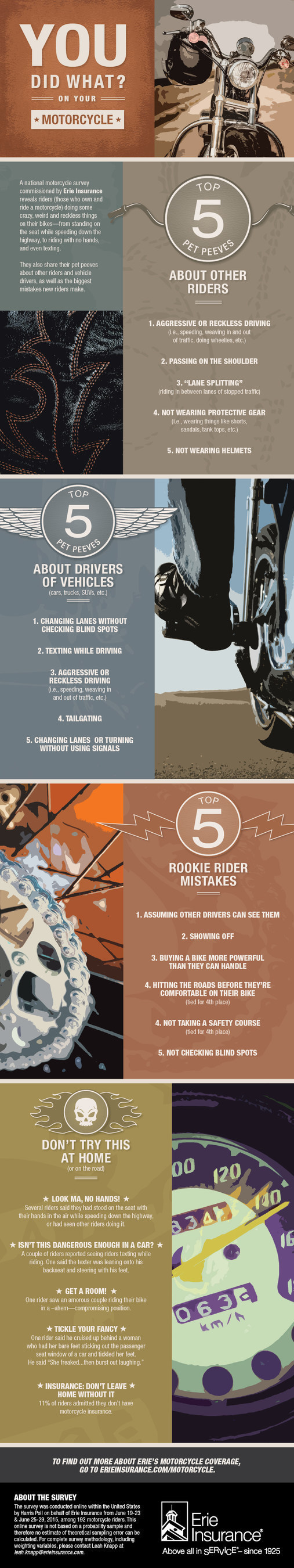 Erie Insurance motorcycle survey reveals riders' top 5 pet peeves. The survey also found riders doing some weird and crazy things on bikes.
