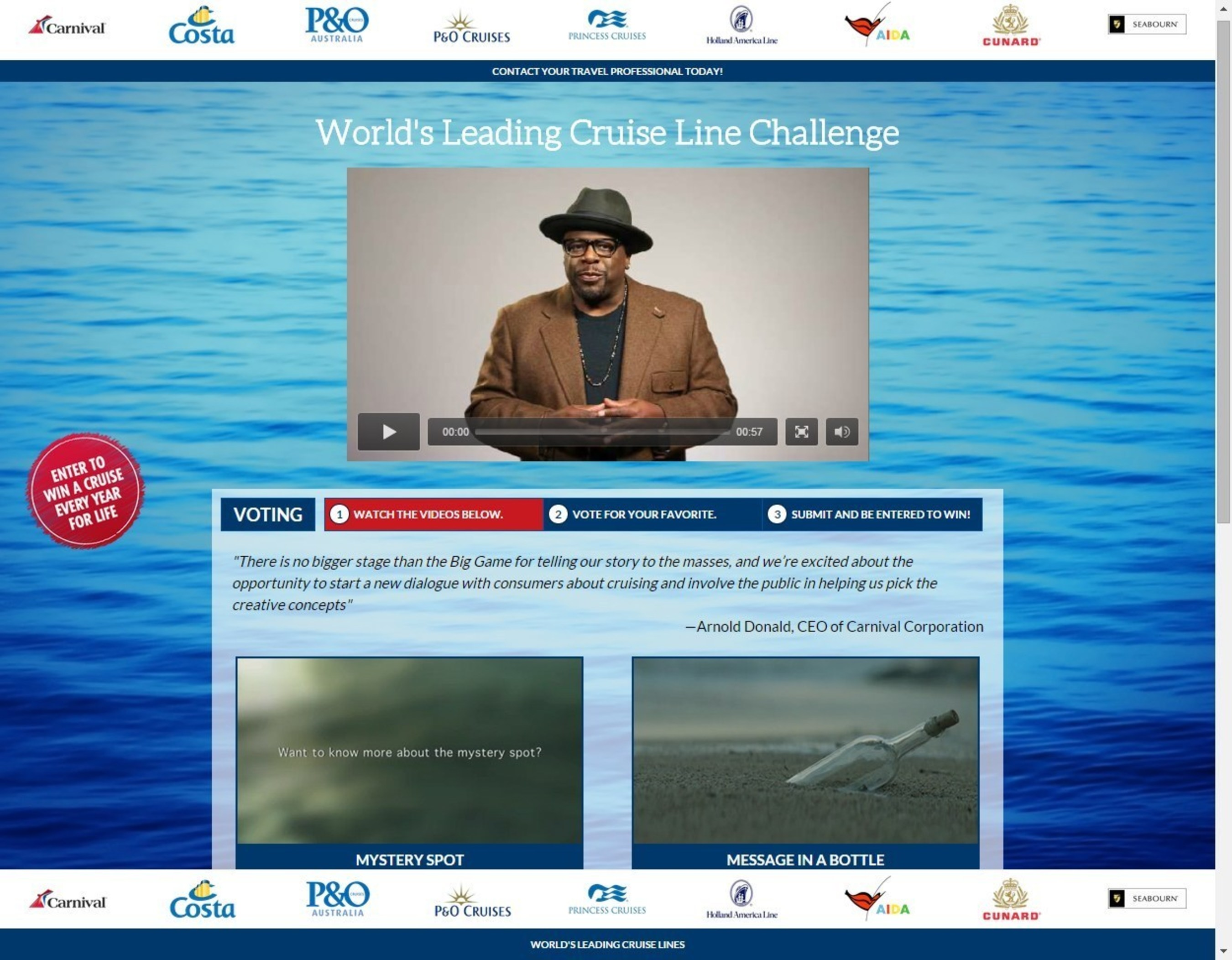 Carnival Corporation will unveil the first TV commercial from its new multi-brand national marketing initiative  ...