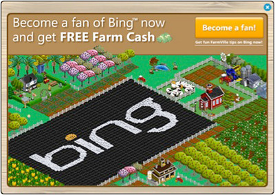 SVnetwork's one-day promotion for Farmville players to become a fan of Bing on Facebook and get free Farm Cash brought in over 425,000 fans for Bing.(PRNewsFoto/SVnetwork)