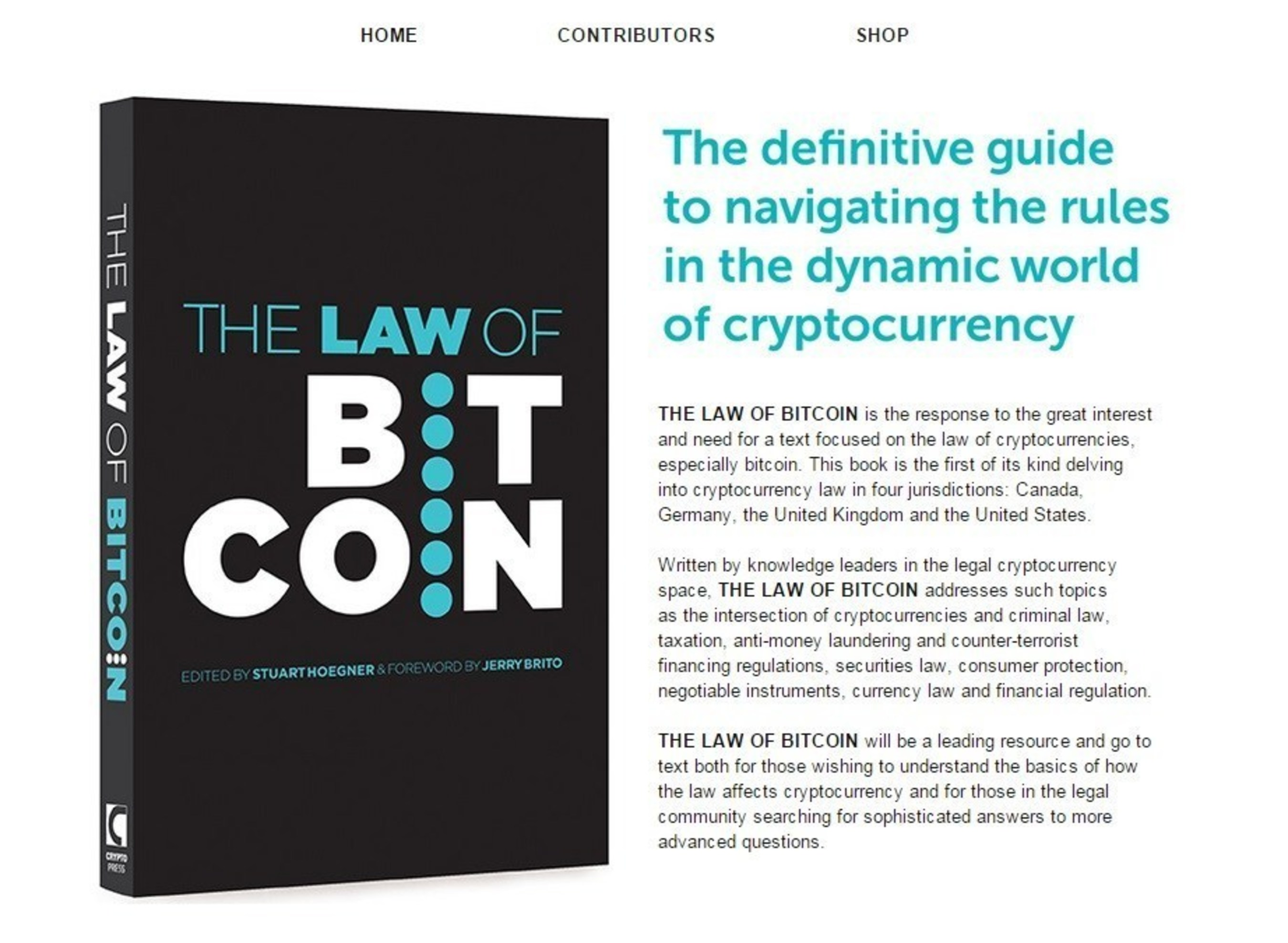 'The Law of Bitcoin' Book Released by 10 International Lawyers and Academics: The Definitive Guide