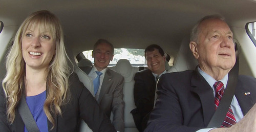Irish Minister for Jobs, Enterprise and Innovation Richard Bruton hopped in the Carma Tesla with Austin Mayor ...
