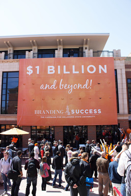 Oklahoma State University officials announced today that the university has surpassed its $1 billion fundraising goal nearly two years ahead of schedule but that the campaign will continue through Dec. 2014. A sign outside the OSU Student Union celebrates the achievement.