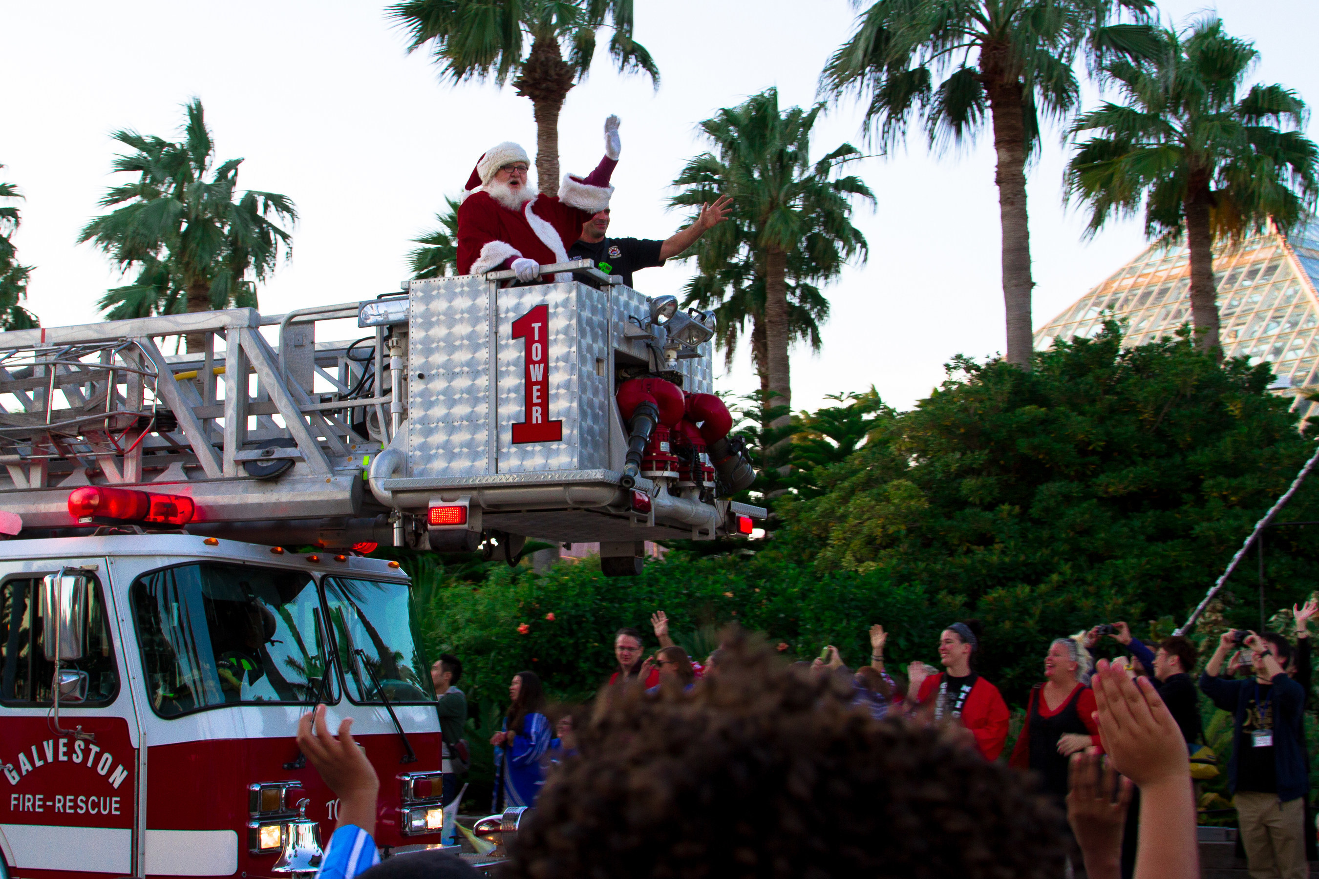 Santa arrived in grand style by fire truck to kick off the holiday season at the opening of Moody Gardens Festival of Lights Saturday in Galveston, TX