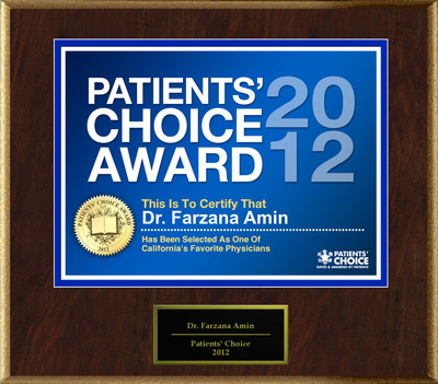 Dr. Amin of San Mateo, CA has been named a Patients' Choice Award Winner for 2012.  (PRNewsFoto/American Registry)