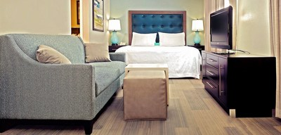 The multi-million dollar renovation of Homewood Suites in Lexington, Kentucky includes new modern furnishings in its guest rooms.