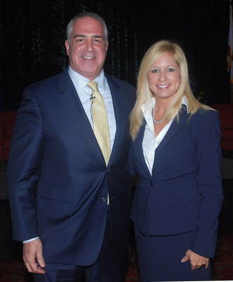 Kenneth Polcari, CNBC market analyst and contributing editor, with Kelly Smallridge, president and CEO of the Business Development Board of Palm Beach County, at January 29 panel on the emergence of Palm Beach County as a financial hub.