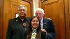 Terry Rambler, Chairman, San Carlos Apache Tribe, U.S. Senator Bernie Sanders and Naelyn Pike, youth member of Apache Stronghold