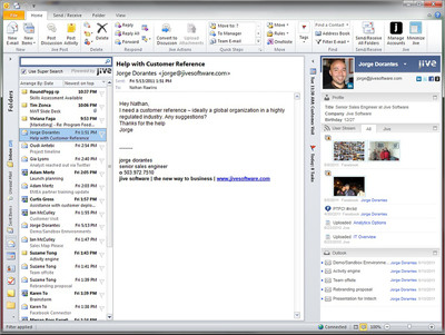 Jive for Outlook. To see a demo, please visit: http://youtu.be/lAm4s7GjAlE.  (PRNewsFoto/Jive Software)