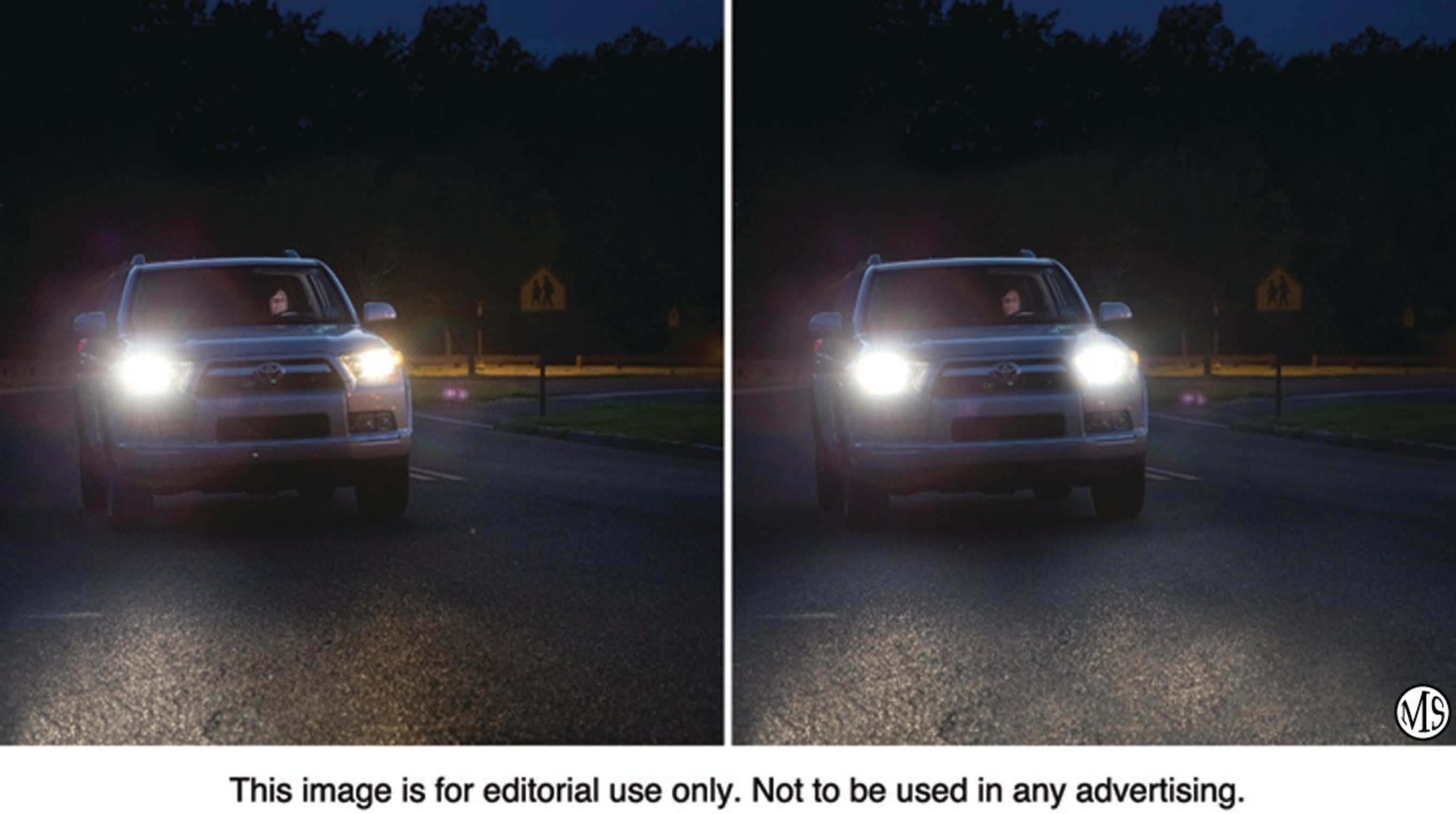 Replacing just the failed bulb (left) can result in unbalanced and inconsistent lighting. Changing headlight bulbs in pairs (right) assures a properly lit road and the full safety benefit of the vehicle's headlights.
