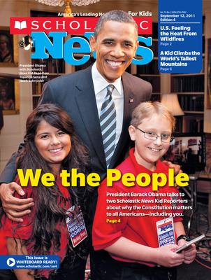 The Scholastic News Kids Press Corps interview with President Barack Obama is the cover story of Scholastic News Classroom Magazines. (PRNewsFoto/Scholastic Inc.)