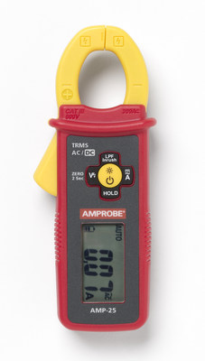 The 5.8-inches-tall AMP-25 measures AC/DC load (60 / 300 A) and in-rush current for motor start-up monitoring, with essential features like True-RMS for accuracy in electrically noisy environments, non-contact voltage detection, and 300 A low pass filter for variable frequency drive testing. The meter is safety rated CAT III 600 V and features DCA zero and data hold functions, auto power off, one-inch (25mm) jaw opening, and a backlit screen.