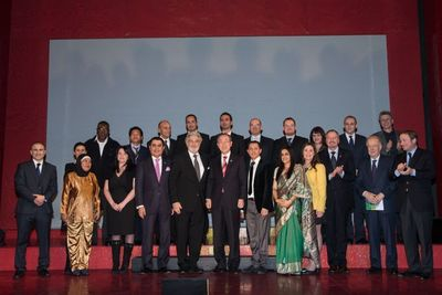 """Intercultural Innovation Award of BMW Group and UNAOC (UN Alliance of Civilizations) at the Volkstheater in Vienna on 26 February 2013. Editorial use of this picture is free of charge. Please quote """"obs/BMW Group"""" (PRNewsFoto/BMW Group)"""