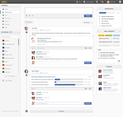 eXo Cloud offers an instant access to an online intranet based on eXo Platform 4. eXo Cloud integrates social and enterprise collaboration features in a single SaaS offering free of charge. With today's premium offering, eXo Cloud brings customers additional features and services. (PRNewsFoto/eXo) (PRNewsFoto/EXO)