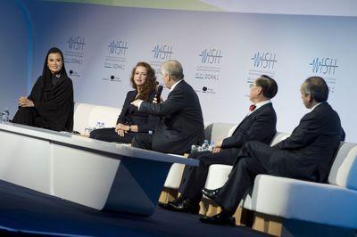 Her Highness Sheikha Moza bint Nasser with HRH Princess Lalla Salma, HRH the Duke of York, Donald Tsang, and Lord Darzi of Denham at the opening of the World Innovation Summit for Health (WISH). (PRNewsFoto/Qatar Foundation)