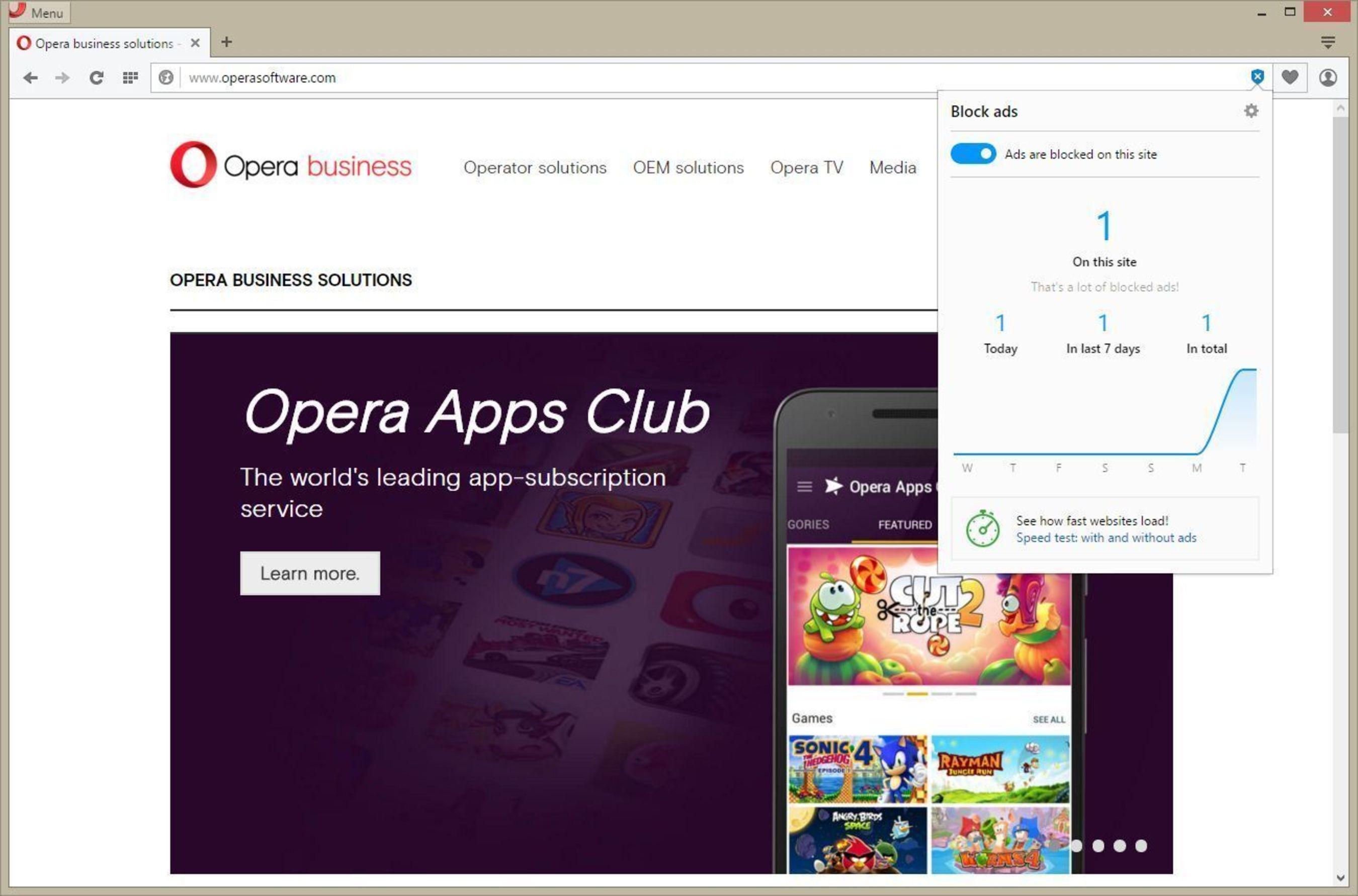 adblock from Opera Software (PRNewsFoto/Opera Software ASA)