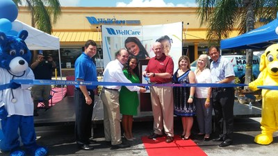 WellCare of Florida celebrates the opening of its newest Welcome Room in Palmetto Bay. From left to right: Michael Freeman, WellCare's director of Medicaid marketing; Eugene Flinn, mayor of the Village of Palmetto Bay; Tanya Ruiz Bonet, WellCare's marketing outreach manager; Gregg MacDonald, president of WellCare of Florida; Jennifer Osbourn, WellCare's marketing and office coordinator manager; Barbara Biggart, founding chair of the Florida Kidcare Coalition; and Luis De Rosa, president of the Puerto Rican Chamber of Commerce of South Florida.