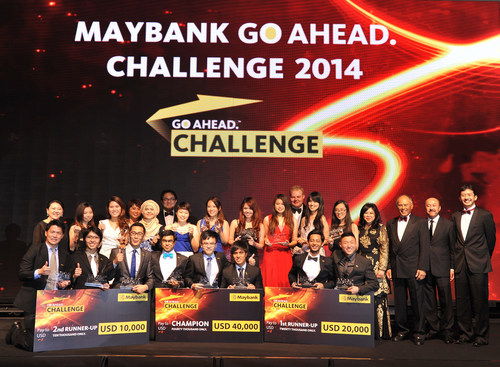The top-placed teams pose with their cheques at the gala dinner and awards presentation in Kuala Lumpur, marking the end of the week-long International Grand Final of the Maybank GO. Ahead Challenge 2014 (PRNewsFoto/Maybank)