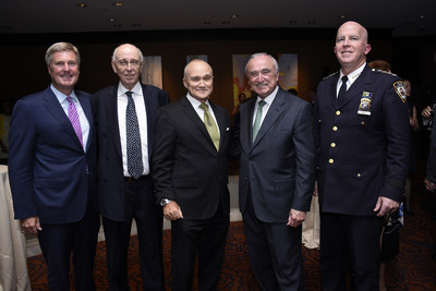 Pictured (left to right) are the two honorees (John Osborn, Robert McGuire) along with former NYC Police Commissioner Raymond Kelly, current NYC Police Commissioner William J. Bratton, and Commissioner Designate Chief James P. O'Neill (photo by Jillian Nelson).
