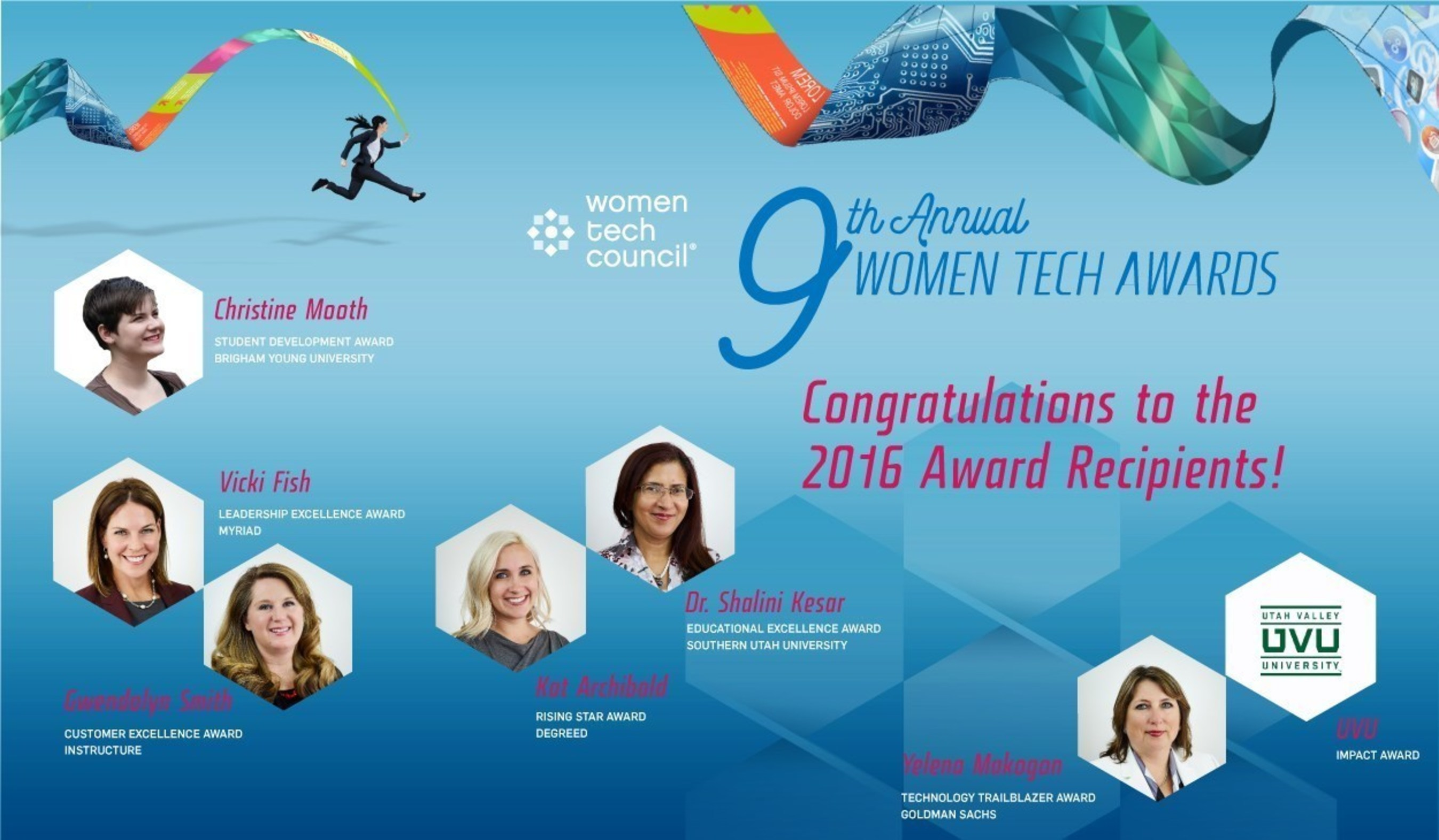 The Women Tech Council (WTC) recognized seven technology-focused women who are driving innovation, leading technology companies and contribution to the technology economy in the Ninth Annual Women Tech Awards.