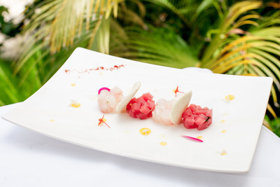 Chef Gianluca Re Fraschini's Dominican inspired menu features Red snapper and Tuna Tartare with lime and coriander dressing, passion fruit sauce and Casabe.