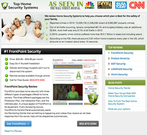 Top Home Security Systems Announces that FrontPoint is Still the Number One Choice in 2013.  (PRNewsFoto/Top Home Security Systems)