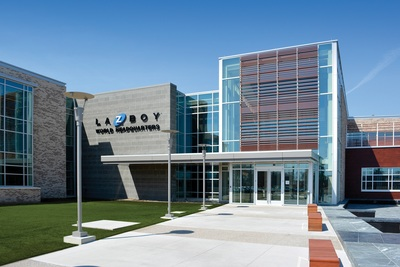 La-Z-Boy introduces new world headquarters located in Monroe, Mich. The building is designed to create synergy among departments, encourage collaboration and inspire.