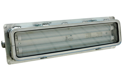 The HAL-24-2L-LED-FLGM fixture is a 2 foot long, 2 lamp, UL listed Class 1 Division 2 Groups A, B, C and D hazardous area LED light and a good choice for use in applications where space is at a premium. This fixture is T4A temperature rated and comes standard with our high power and efficiency 15 watt LED lamps. The lamps are protected by an aluminum framed hinged glass door secured with four turn latches and the fixture is constructed of copper free aluminum alloy. This fixture is multi-voltage capable and is U.L. 595 and UL 1598A Marine Type approved.  (PRNewsFoto/Larson Electronics)