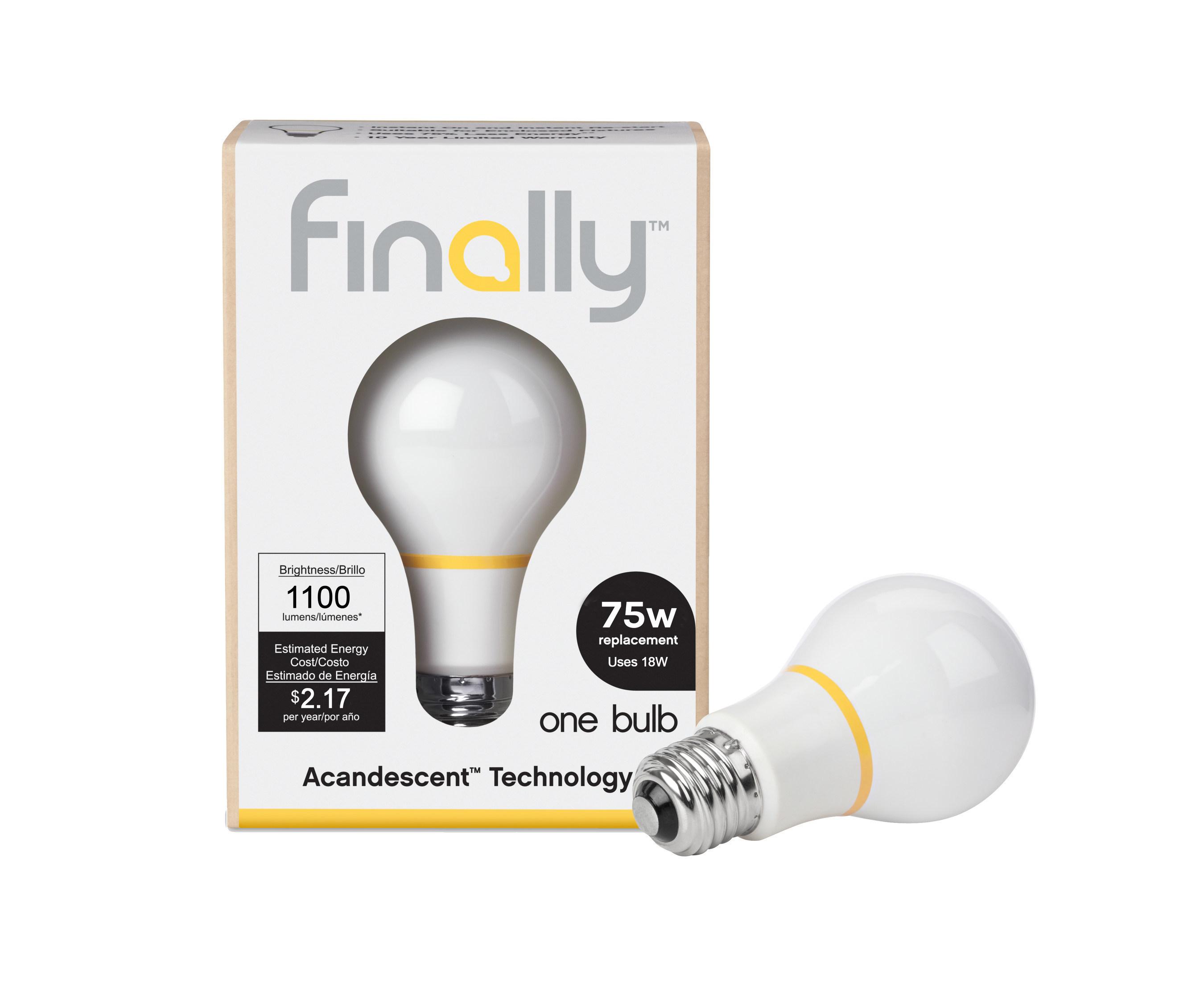 The Finally Light Bulb company manufactures energy-efficient light bulbs with a new technology, Acandescence. Bulbs are currently available in 60 Watt, 75 Watt and 100 Watt