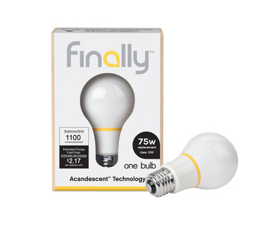 The Finally Light Bulb company manufactures energy-efficient light bulbs with a new technology, Acandescence. Bulbs are currently available in 60 Watt, 75 Watt and 100 Watt