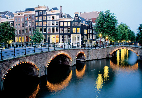 Amsterdam at night, where Crystal has new cruises to and from in 2015.  (PRNewsFoto/Crystal Cruises)