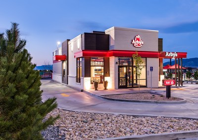 """The exterior of Arby's new """"Inspire"""" restaurant design."""